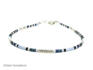 Blue Green, Pale Blue, White & Silver Seed Bead Boho Bracelet